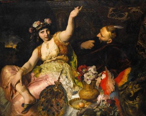 Ferdinand_Keller_-_Scheherazade_und_Sultan_Schariar_(1880)-1