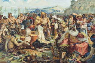 Trade in an Early East Slavic State, 19th century. Private Collection. Artist : Anonymous. (Photo by Fine Art Images/Heritage Images/Getty Images)