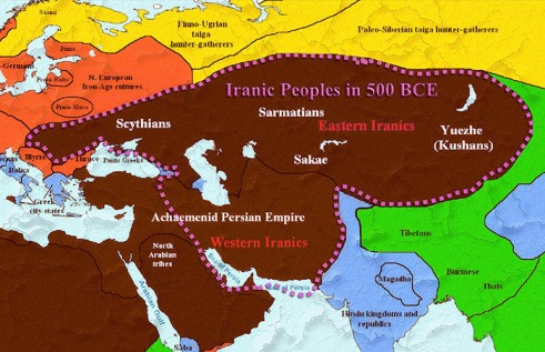 Iranic Eastern and Western Peoples Map